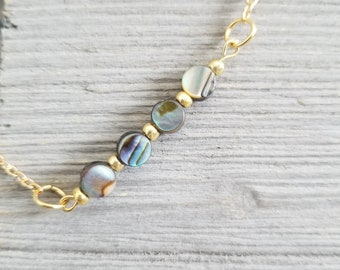 Coin Abalone and Gold Bracelet