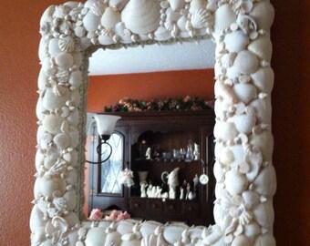 Coastal White Seashell Mirror....SALE until June 30,2018