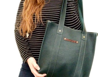 Handmade leather tote - forest green