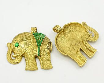 Color elephant charm antique gold, size: about 56 mm long 53 mm wide 7 mm thick, hole: 5 mm