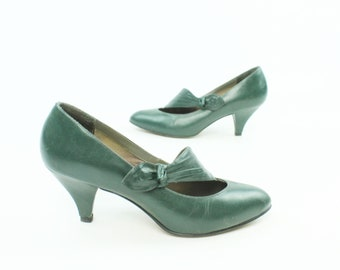 80s does 30s Pumps Dark Green Leather Shoes High Heels Womens Size 7 Vintage 1980s Connie Pinup Rockabilly