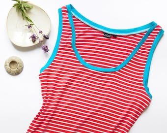 Red Striped Tank Top, Red Striped Camisole, Striped Camisole, Tank with Stripes, Striped Singlet, Girlfriend Gift, Womens Underwear,Tank Top