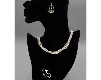 Swarovski crystal and white pearl twisted 4 strand - necklace and earrings - Sterling silver