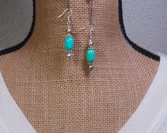 Natral american Turquoise Gemstone, 925 Silver Earrings