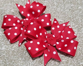 Set of 2 red polka dot pin wheel hair bow on non slip alligator clips minnie mouse inspired