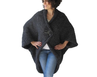 Plus Size Over Size Dark Gray Wool Overcoat - Poncho - Cardigan