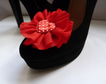 Red & White Polka Dot Satin (Queen of Hearts) Shoe Clips - Rockabilly, Vintage, Retro
