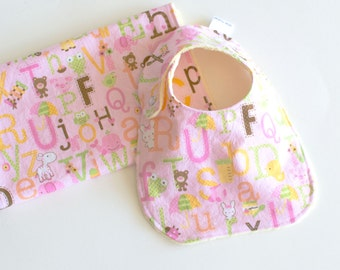 Baby Girl Gift Set Bib and Burp Cloth ABC Sweet Baby Girl