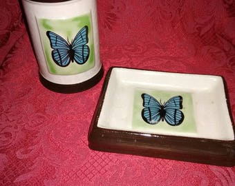 Vintage butterfly toothbrush holder and soap dish