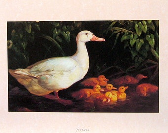 Small Bird Print - White Goose - 1992 Vintage Book Page - 9 x 7