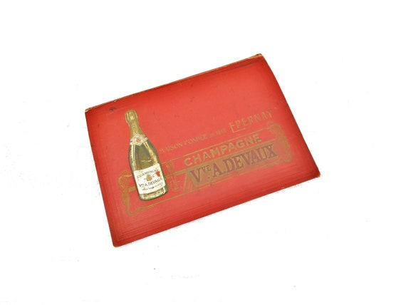 Antique French Champagne Vve A Devaux from Eparnay Promotional Advertising Blotting Paper Red Card A4 Folder, Champagne Wine House France
