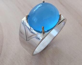 Blue Ring Men, Size 11 Ring, Oval Stone Ring, Sterling Silver Ring, Mens Ring, Silver Mens Ring, Blue Mens Ring, 925 Mens Ring