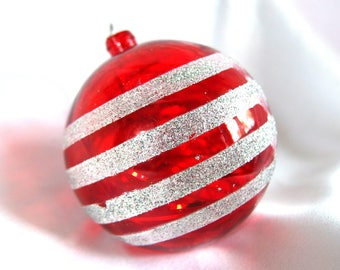 Large Plastic Ornament; Vintage Round, Red Ornament with Silver Glitter Stripes and Tinsel