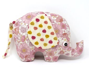 Pink Floral Stuffed Elephant, Elephant Softie, Elephant Stuffie, Baby Girl Gift, Elephant Plush