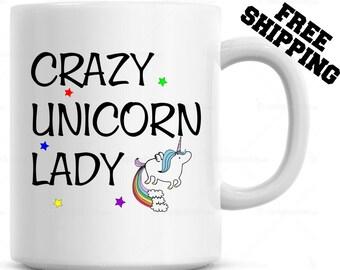 Unicorn, Crazy Unicorn Lady  Coffee Mug Christmas Gift Birthday Present Funny Coffee Cup