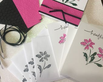 Card Kit, DIY Card Kit, Stamped Card Kit, Thank You Card Kit, Embossed Card Kit, Stampin Up Card Kit, Handmade Card Kit, Floral Card Kit