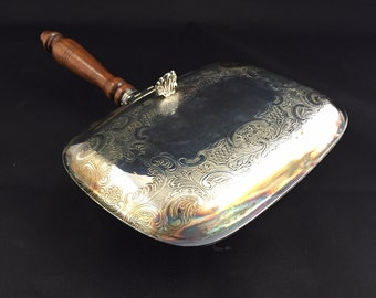 Vintage Silver Plated Silent Butler Tray with Wooden Handle