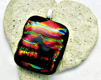 Black Horse with Dichroic Sunset Fused Glass Pendant