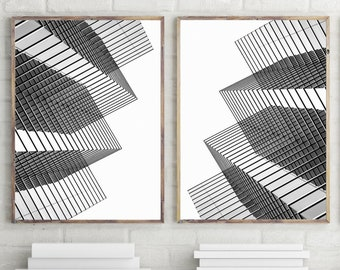 Geometric Wall Art Set of 2 Prints, Minimalist Poster, Large Wall Art Prints, Black and White Scandinavian Print Printable Wall Art Download