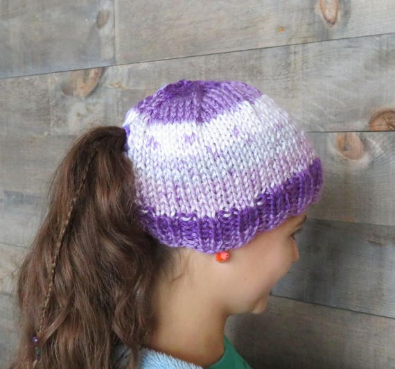 Knitting Pattern Quick And Soft Girls Ponytail Hat Knitting