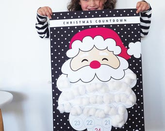 Christmas Calendar Santa Countdown | A2 Black Cross Pack | Advent Calendar | Santa's Beard