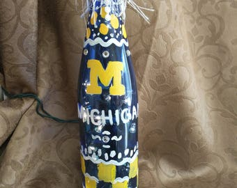 University of Michigan hand painted bottle