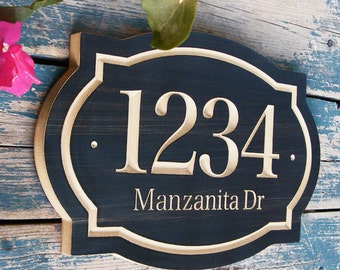 "15""x10"" Classic House Number Engraved Plaque, Housewarming Gift, Realtor Gift, Address Sign, House Number, Number Plaque, carved wood sign"