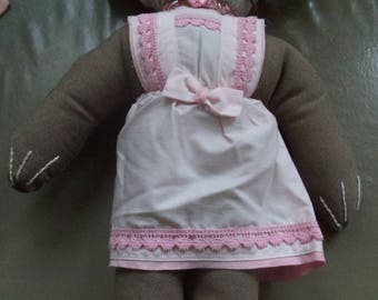 Pink rabbit with a dress made entirely by hand