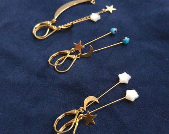 Dangling Moon and stars earrings