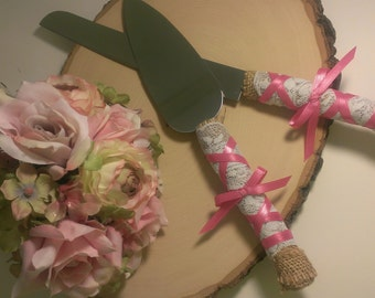 shabby chic wedding cake cutting fuschia, pink wedding cake knife burlap and lace serving set custom colors (K111)