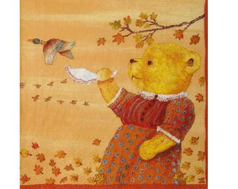 Set of 3 paper napkins OUR036 Teddy bear making bye-bye ducks
