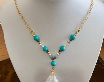 Quartz and Turquoise on gold chain