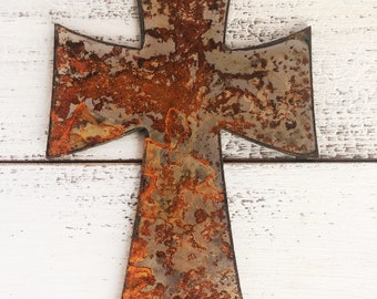 """Cross - 6"""" Rusty, Rustic Metal CROSS - Predrilled - For Art, Sign, Decor - Make your own DIY Gift!"""