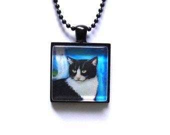 Tuxedo cat blue painting Art Glass Tile Pendant Necklace