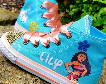 Moana Converse, Gold Crystals, Toddler Shoes, Moana Outfit, Disney Trip, Sizes 5-10, Personalized Name