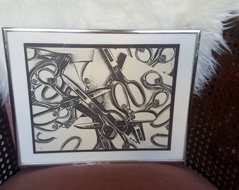 1970s Framed Scissors Print