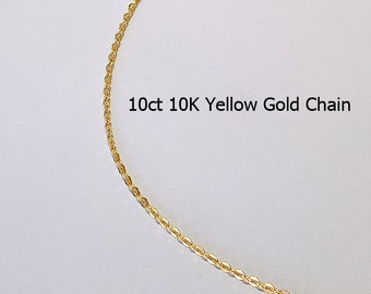 10ct 10K Solid Yellow Gold Flat Trace Link Type Chain Necklace for Pendant Jewellery - HJ93