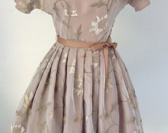 Retro 50s Dress 50s Inspired Dress Vintage Inspired Dress Fit and Flare Dress Retro Dress Floral Dress Embroidered Dress For Women