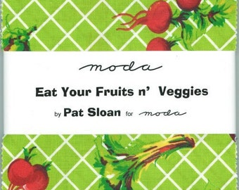 Eat Your Fruits and Veggies Charm Pack By Pat Sloan For Moda