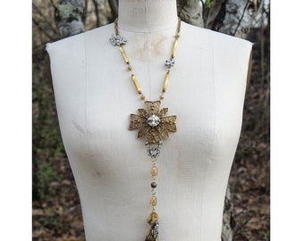 vintage GOLD MALTESE CROSS with vintage rhinestone pieces and antique gold mercury glass beads