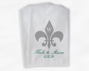 Fleur de Lis Monogrammed Wedding Candy Buffet Bags - Teal and Silver Custom Favor Bags Personalized - Paper Treat Bags (0061)