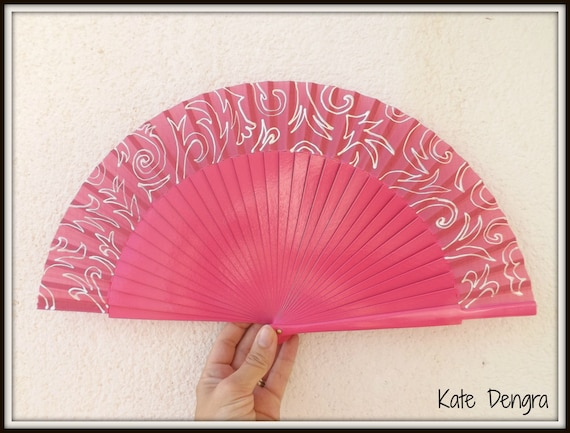 Hot Pink and White DAMASK Wooden Folding Hand Fan READY to SHIP