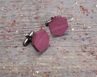 Wood Cufflinks, Hexagon Purpleheart cufflinks, Wedding Cufflinks, 5th Wedding Anniversary Present, cufflinks for men, groomsmen, customized