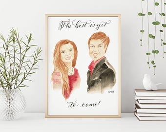 Custom Couple Portrait - Watercolor Custom Gift - Couple Art for Weddings