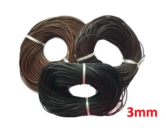 Leather Cord, Genuine Leather, Round, Black, Brown Leather, Necklace cord - 3mm