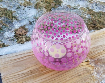 Pink ombre candleholder, pink ombre polkadot candleholder, pink ombre votive candleholder, pink ombre twilight holder, pink gift