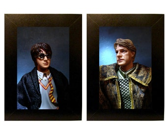 "Framed Harry + Gilderoy Lockhart Toy Photographs 5"" x 7"""