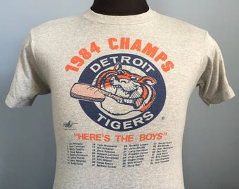 80s Vintage Detroit Tigers 1984 World Series Champs Here's the Boys team roster mlb baseball T-Shirt - SMALL