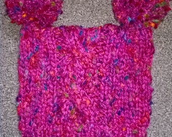Hand Knit Ladies Square Hat with Pompoms