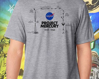 Space Exploration / Project Mercury / Men's Gray Performance T-Shirt